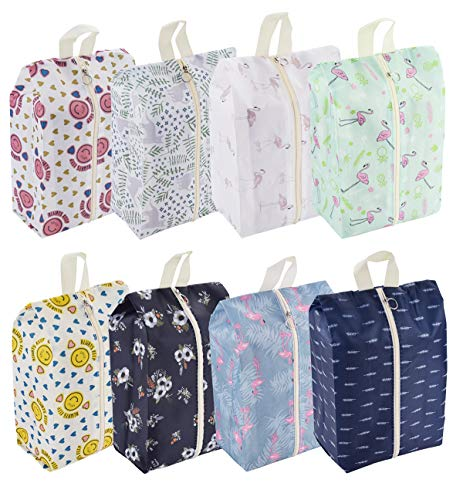 Travel Shoe Bags Waterproof Portable Shoe Storage Pouch with Handle for Men & Women (8 Pack Cute Pattern)