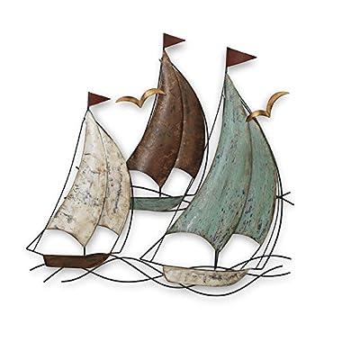 Gerson LARGE 25  Metal Sailing Sail Boats Decorative Home Wall Hanging Decor ~ Nautical Theme (Sail Boats)