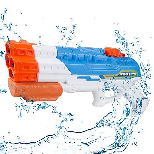 infinitoo Wasserpistole Spritzpistole 4 Düsen Water Gun mit 1,15 Liter Wassertank, 8-10 Meter Reichweite Blaster Spielzeug für Kinder, Erwachsene Party Garten Strand Pool etc.