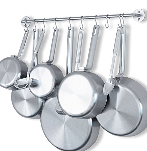 "Wallniture Cucina 24"" Wall Mount Kitchen Utensil Holder with 10 S Hooks for Hanging Pots and Pans Set and Lid Organizer, Silver"