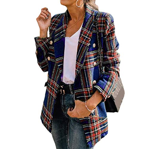 Azastar Dames Blazer Elegant lange mouwen jas knooppakken eenkleurig pak jas dunne blazer met tas