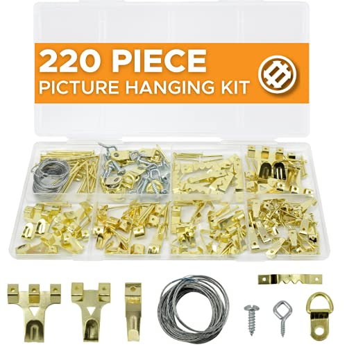 JACKSON PALMER 220 Piece Picture Hanging Kit with Hooks, Nails, D Rings, Sawtooth Hangers, & Wire for Artwork and Frames