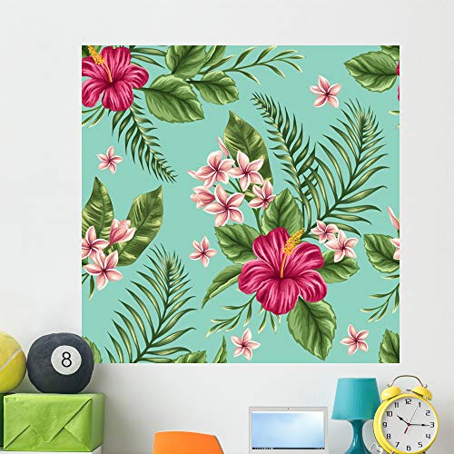 Wallmonkeys Floral Seamless Pattern Wall Mural Peel and Stick Vinyl Graphic (48 in H x 48 in W) WM525501