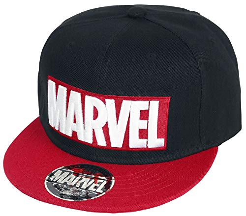 Marvel Logo Snapback-Cap schwarz/rot