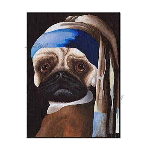 ZNYB Cuadros Vintage Decoracion Pintura de Perro de opción múltiple 100% Pintado a Mano Arte Animal Pintura al óleo Tallada Obra de Arte Lienzo Cuadros de Pared Arte Animal
