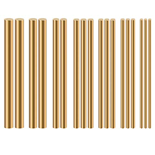 Eowpower 18Pcs Dia 2-8mm Brass Round Rods Bar Assorted for DIY Craft
