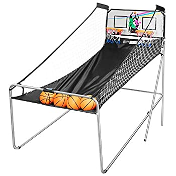 VIVOHOME Foldable Dual Shot Basketball Arcade Game Electronic for 2 Players with 8 Game Modes 4 Balls and LED Scoring System Arcade Sounds Kids Adults Indoor Outdoor
