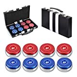 TORPSPORTS Set of 8 Aluminum Caps Shuffleboard Pucks 2-1/8' Size with Case- Red/Blue