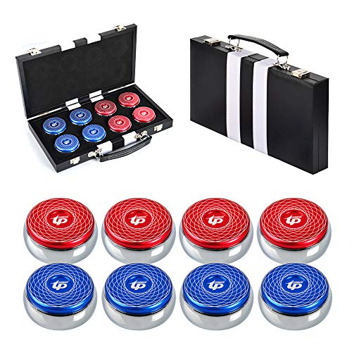 Best Prices! TORPSPORTS Set of 8 Aluminum Caps Shuffleboard Pucks 2-1/8″ Size with Case- Red/Blue