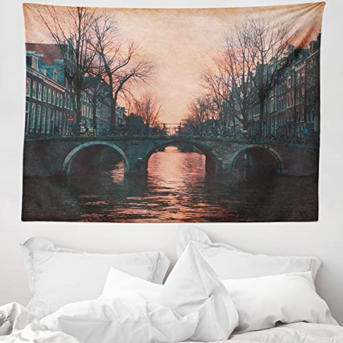 ABAKUHAUS Landschaft Wandteppich & Tagesdecke, Amsterdam Weinlese-Brücke, aus Weiches Mikrofaser Stoff Wand Dekoration Für Schlafzimmer, 150 x 110 cm, rosa-Grau