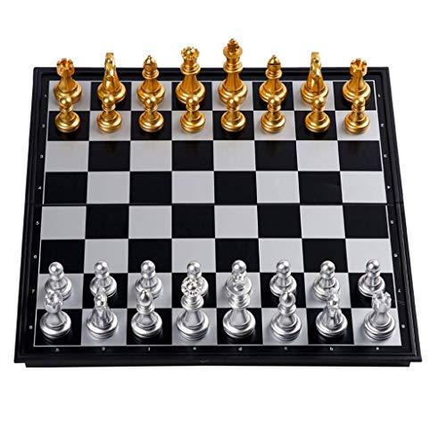 SBDLXY Ajedrez Ajedrez de plástico Ajedrez de Viaje magnético con Tablero Que se Convierte en un Compartimento de Almacenamiento, Gran Juego de Juguete de Viaje con Tablero de ajedrez Plegable Jueg