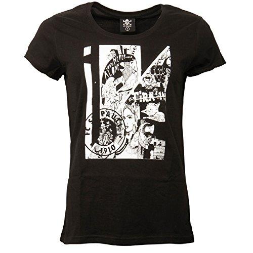 FC St. Pauli Damen Frauen T-Shirt Kunstdruck Collage Vereinslogo Hamburg Schwarz Weiß (M)