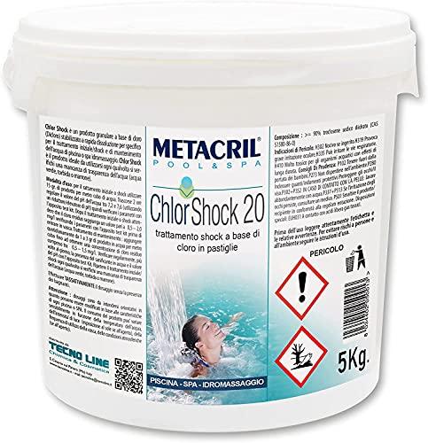 Cloro shock 20 gr-5kg Pastillas de 20 gr. Dicloro a rápido dissoluzione para piscina