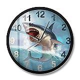 Tiburón Hambriento Reloj de Pared de tiburón Blanco para habitación de niños Elevador de mar Decoración artística para el hogar Acuario oceánico Reloj de Pared silencioso silencioso-Marco de Metal