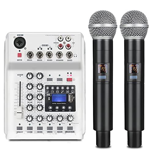 Riiai Draadloze mixer, geïntegreerde DJ-mengconsole met UHF-microfoon, live geluid audiogeluidskaart met LCD-digitaal…