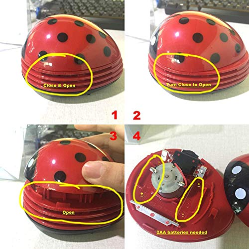 Cute Portable Beetle Ladybug Cartoon Mini Desktop Vacuum Desk Dust Cleaner(Red#002) Hawaii
