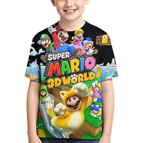 ReactHH Super Mario 3D World Boys Girls Fun 3D Graphics Summer Fashion Casual Short Sleeve T-Shirt