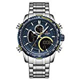 xiaoxioaguo Reloj de hombre de lujo marca grande esfera deportiva reloj cronógrafo cuarzo fecha reloj hombre plata azul