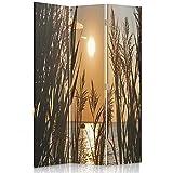 Feeby Frames Biombo Impreso sobre Lona, tabique Decorativo para Habitaciones, a una Cara, de 3 Piezas (110x150 cm), OCASO del Sol, Dorado, Anaranjada