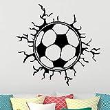 JXWH 58cm X 56cm Creativo Fútbol Balón de fútbol Etiqueta de la Pared Deportes niños Dormitorio Decoración Fútbol Diseño de la Pared Pegatinas Vinilo extraíble Inicio