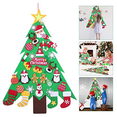 Árvore de Natal de feltro DIY da Amosfun com 32 peças de enfeites de Natal, 3 pés, decoração de Natal