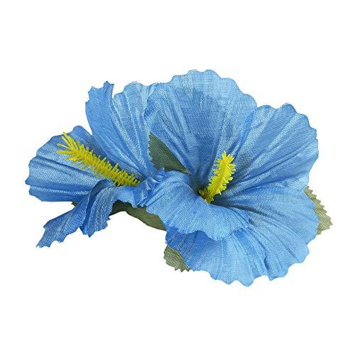 Widmann 1847L - Haarspange, mit 2 hellblauen Hibiskus Blumen, Haarclip, Haarschmuck, Hawaii, Mottoparty, Karneval