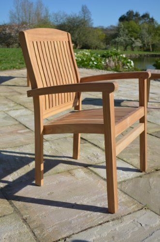 Field & Hawken - Marlborough - Solid Teak Garden Armchair - Fixed Stacking Armchair