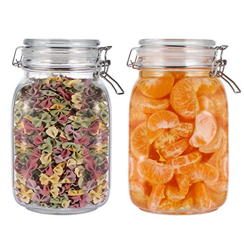 BESTONZON Glass Storage Jars,2pcs Food Storage Jar Airtight Storage Container with Seal Clamp for Dry Food Kitchen Canning Cereal,Pasta,Sugar,Beans,Spice(1.5L)