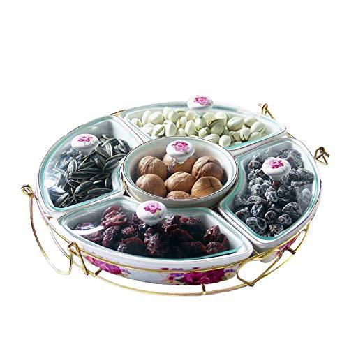 Kimmyer 11,4-Zoll-Snack-Serviertablett aus Keramik, 5-teiliger Behälter für Süßigkeiten und Nüsse mit Deckel und Schleudertablett, für Vorspeisenpartys mit Käsecrackern