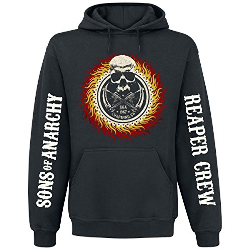 Sons Of Anarchy Hoodie Reaper Crew Flames Skull Logo Kapuzenpullover Größe L (large) - Motorcycle Club Redwood Original Langarm Pullover Sweater SAMCRO Kapuzensweater
