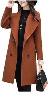 neveraway Womens Woolen Double Button Skinny Notch Lapel Oversized Jacket Coat