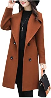 Howely Womens Woolen Skinny Relaxed Double-Breasted Plus Size Coat Overcoat