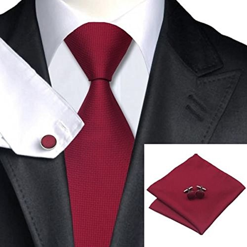 ZOOMY Corbata de Seda Tejida a Mano, Hombres, Corbata, Gemelos y pañuelo, Juego Hanky Gift - Purpurino Rojo