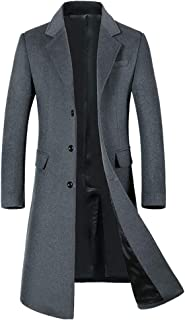 Men's Long Slim Peacoat Winter Business Wool Blazer Gentlemen Trench Coat
