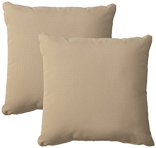 TK Classics PILLOW-BEIGE-S-2x Outdoor Square Throw Pillow, Set of 2, Beige