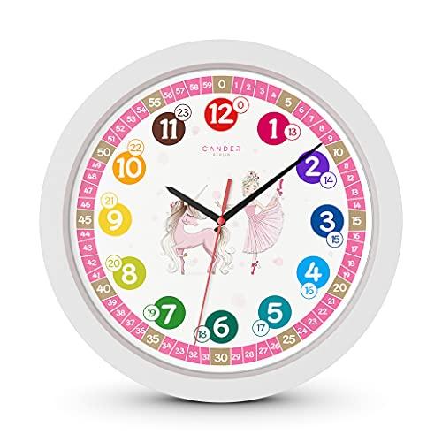 Cander Berlin MNU 1730, orologio da parete per bambini, unicorno e principessa, silenzioso, 30,5 cm, rosa, per imparare a leggere l'ora