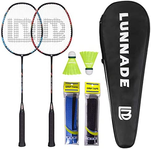 LUNNADE Badminton Racket Set of 2 Carbon Racquets 2 Shuttlecocks 2 Overgrips and 1 Bag Lightweight product image