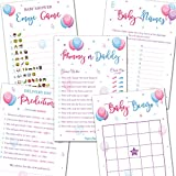Gender Reveal Games - Set of 5 Activities - (250 Cards Total, 50 Per Game) - Gender Reveal Party Supplies Activities Ideas - Baby Shower Games for Boys or Girls - Gender Neutral