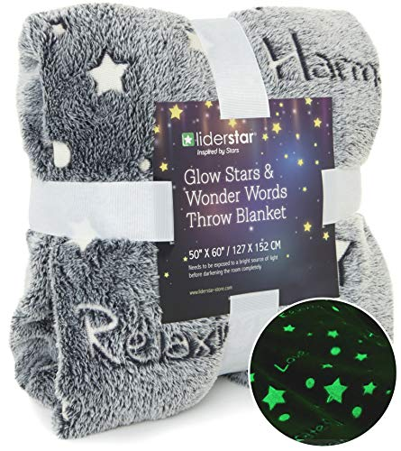 "LIDERSTAR Glow in The Dark Throw Blanket,Super Soft Fuzzy Fluffy Plush Fleece,Decorated with Stars and Words of Healing, Christmas Birthday Gift for Girls Boys Kids Teens Toddler, Gray,50""x 60"""