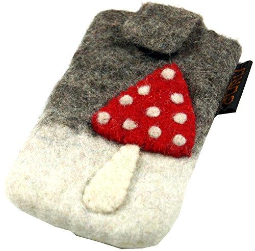 Guru-Shop Filz Handytasche Fliegenpilz, Herren/Damen, Weiß, Wolle, Size:One Size, 15x9 cm, Hüllen für Smartphone & Tablet