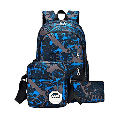 Watopi 3Pcs Classic Multicolour Printing Backpack + Pencil Bag + Shoulder Bag Multicolour Oxford Waterproof Backpack School Bags for Students Boys Girls Kids