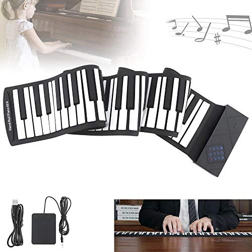 Sale!! FJFJFJ 88 Keys Portable MIDI Roll up Piano Silicone Electronic Keyboard Piano Flexible Professional USB Electronic Organ with Sustain Pedal, Black