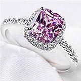 Naomi Shipei Band Opal Ring 925 Sterling Silver Women Fashion Jewelry 100% Natural AAA Diamond CZ 3CT for Women Wedding Engagement Rings Pink Diamond-Ring Size 8