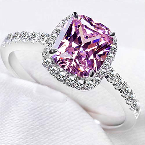 Naomi Band Ring 925 Sterling Silver Women Fashion Jewelry AAA Diamond CZ 3CT for Women Wedding Engagement Rings ( Pink, Diamond-Ring Size 8)