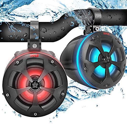 "2-Way Waterproof Off Road Speakers - 4"" 800W Active Passive Marine Grade Wakeboard Tower Speakers System w/RGB Light, Full Range Outdoor Audio Stereo Speaker for ATV/UTV, Jeep, Boat - Pyle PLUTV45BTR"