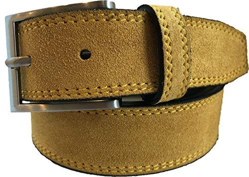 Cinturón para hombre 100% italiano de ante amarillo mostaza 35 mm
