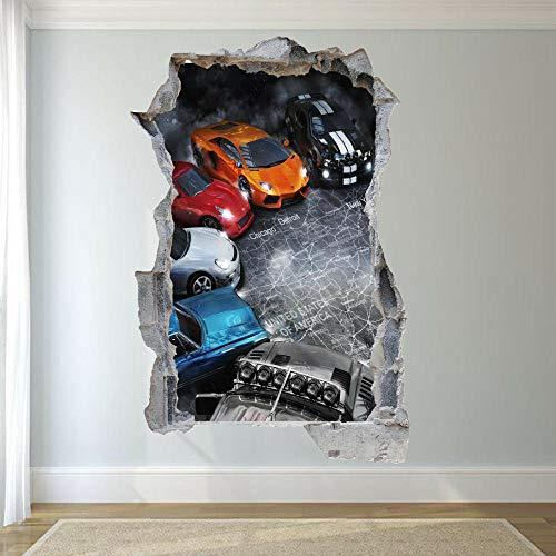 Pegatinas de pared rápido coche deportivo pegatina de pared arte efecto 3D calcomanía mural cartel