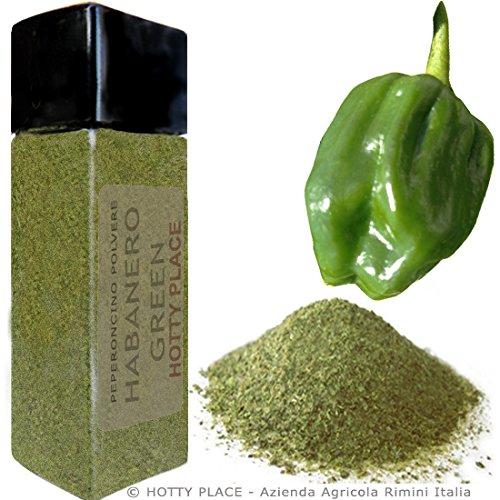 HABANERO GREEN sapore fresco POLVERE Piccante MEDIO Peperoncino 10g Flacone