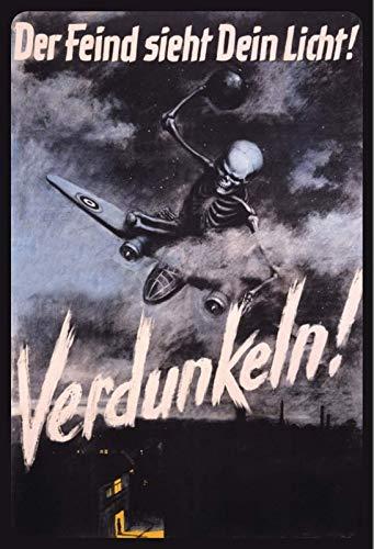 Der Feind sieht dein Licht ! 2. Weltkrieg Blechschild Metallschild Schild gewölbt Metal Tin Sign 20 x 30 cm