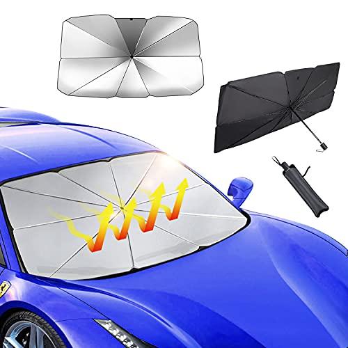 KYYLZ Sonnenschutz Auto Frontscheibe Innen Faltbarer Sonnenblende,Auto Windschutzscheibe Sonnenschirm Regenschirm UV Schutz,Auto Faltbarer Sonnenblende für SUVLKW Frontscheibe und Heckscheibe 140*79cm